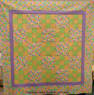 pastel 9-patch quilt top