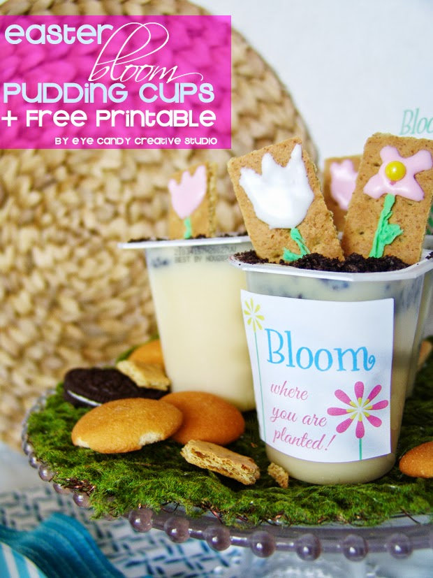 easter bloom pudding cups, free easter printable, easter pudding cups, pudding cups