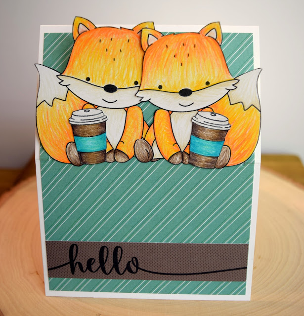 Fox Coffee Card by Jess Gerstner featuring JustME digital stamps and MFT flop card die
