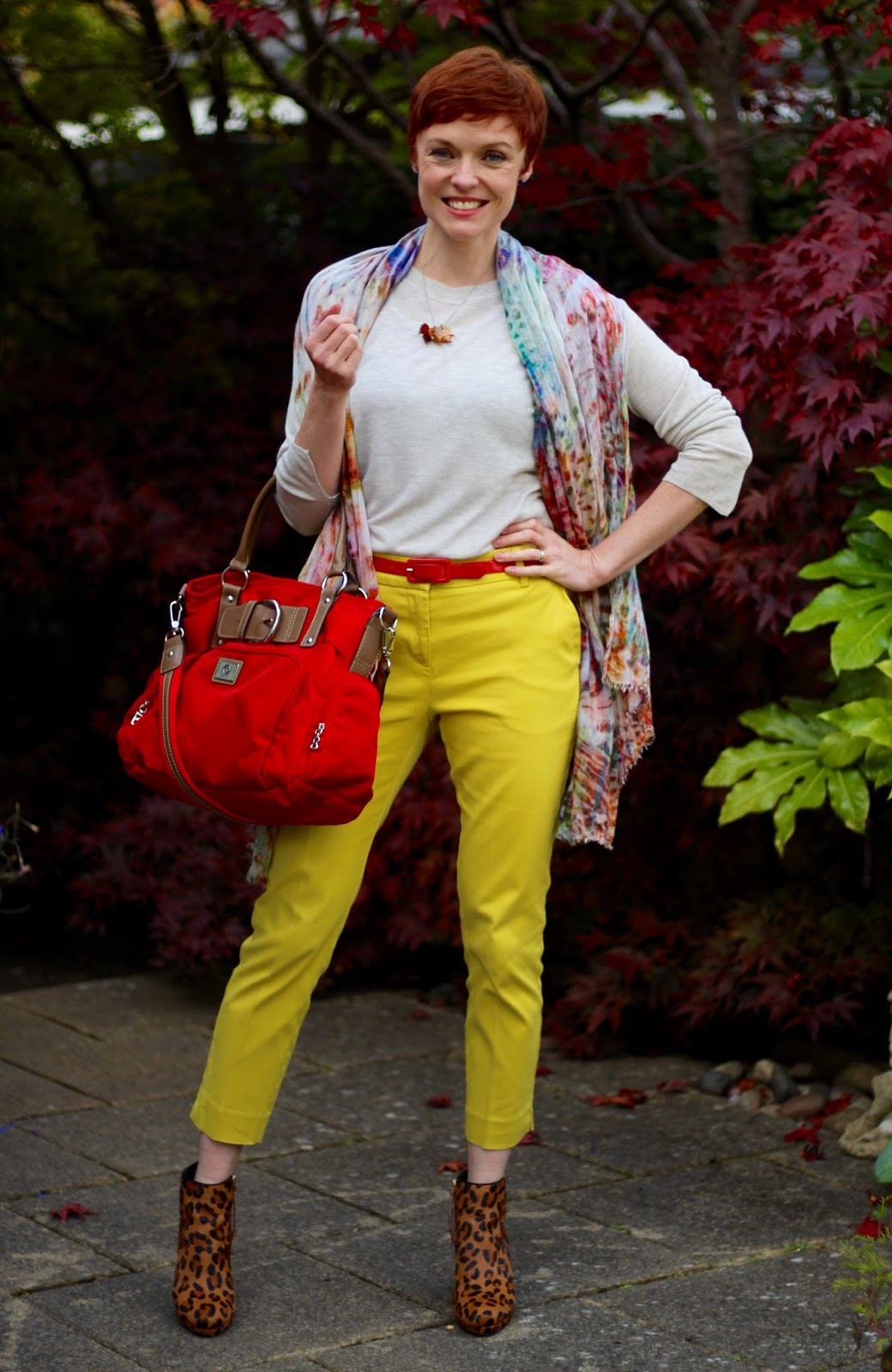 Yellow Trousers in Autumn, with Leopard & Red!