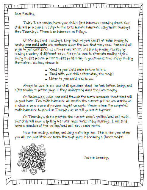 teacher note to be able to parents about homework