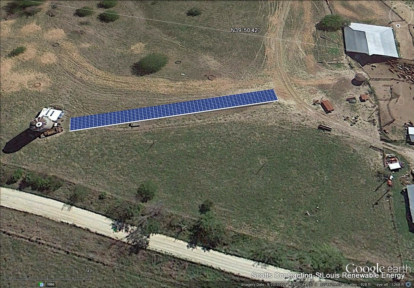 Birds Eye view of the SolarPower Feed Bunk Cover Shade, Cattle Pens, Barns, and Silo