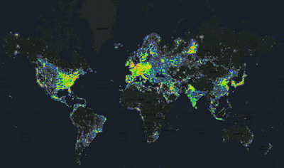 world light pollution map