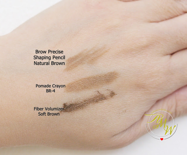 a swatch photo of Maybelline Fashion Brow Precise Shaping Pencil Natural Brown Review, Maybelline FashonBrow Pomade Crayon BR-4 Review.  Maybelline Brow PRecise FIber Volumizer Mascara in Soft Brown Review