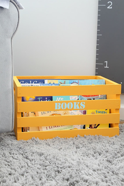 DIY Book Crate- Use a wooden crate to store kids books!