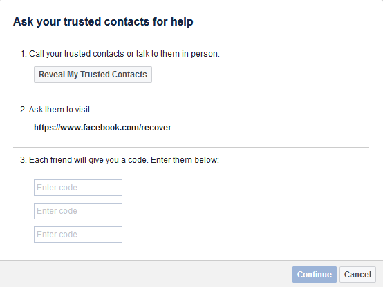 how do trusted contacts help you to recover your facebook account