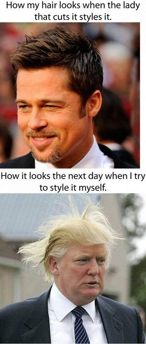 when I style it myself, donald trump hair, donald trump joke, donald trump meme, stylist humor, hair salon humor, hair salon joke