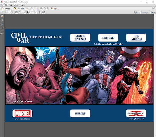 Opening Menu for CIVIL WAR Collection by Marvel, DVD-ROM by GIT, Corp.