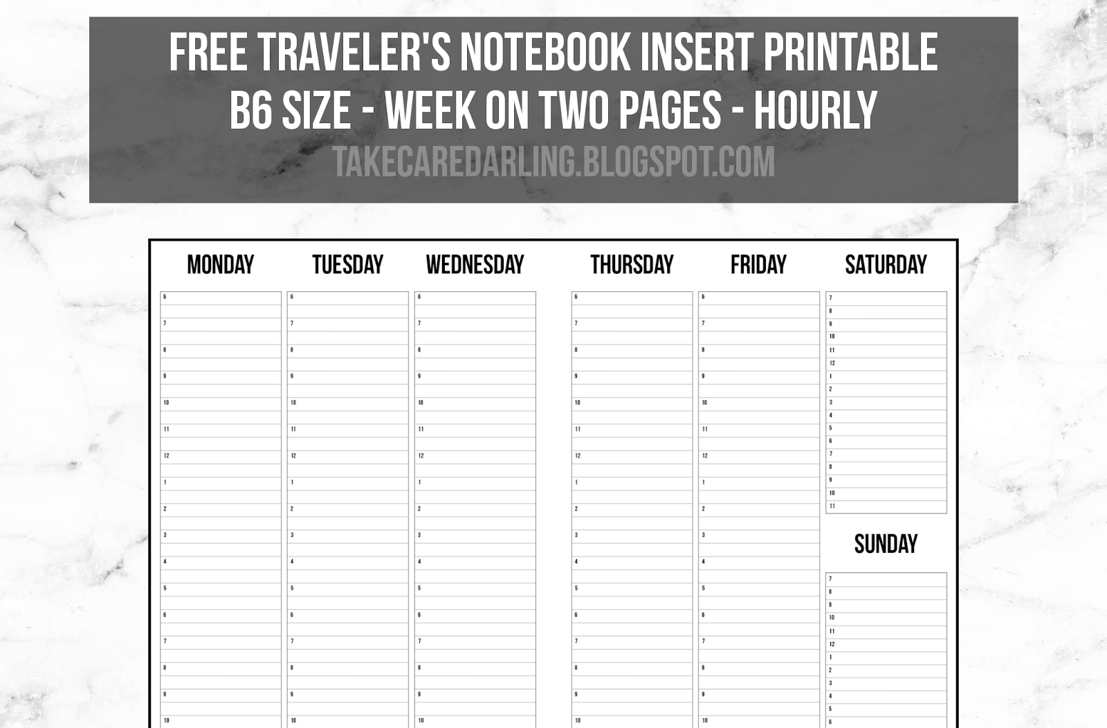 photo regarding Free Printable B6 Inserts identify Totally free Holidaymakers Laptop computer Incorporate Printable: 7 days upon 2 Webpages