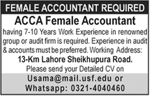 Female Accountant Jobs in an Audit Firm, Apply vie Email