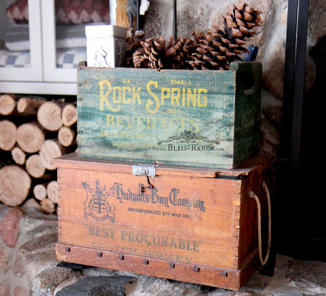 Fireplace Hearth Vintage Crates, Bliss-Ranch.com