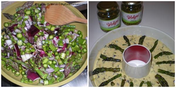 Ciambellone salato con asparagi, pisellini e fagiolini