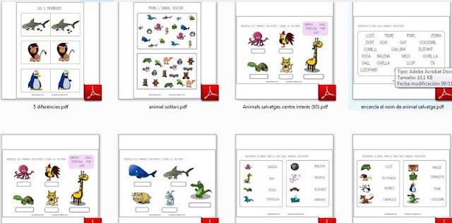 Fitxes d'animals salvatges per a eduació infantil