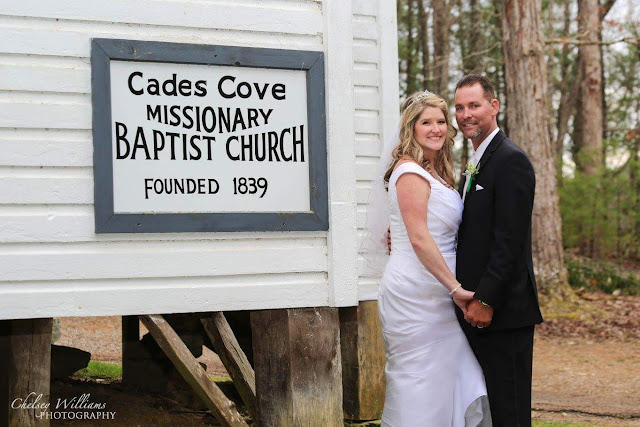 Mr. and Mrs., newleyweds, Missionary Babptist Church, Cades Cove, Tennessee, I do, Spring wedding