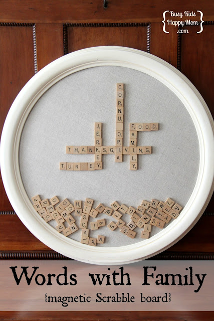 scrabble wall art with a magnetic scrabble board