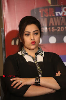Tamil Actress Meena Latest Stills in Black Dress at TSR TV9 Awards Press Meet  0134.JPG