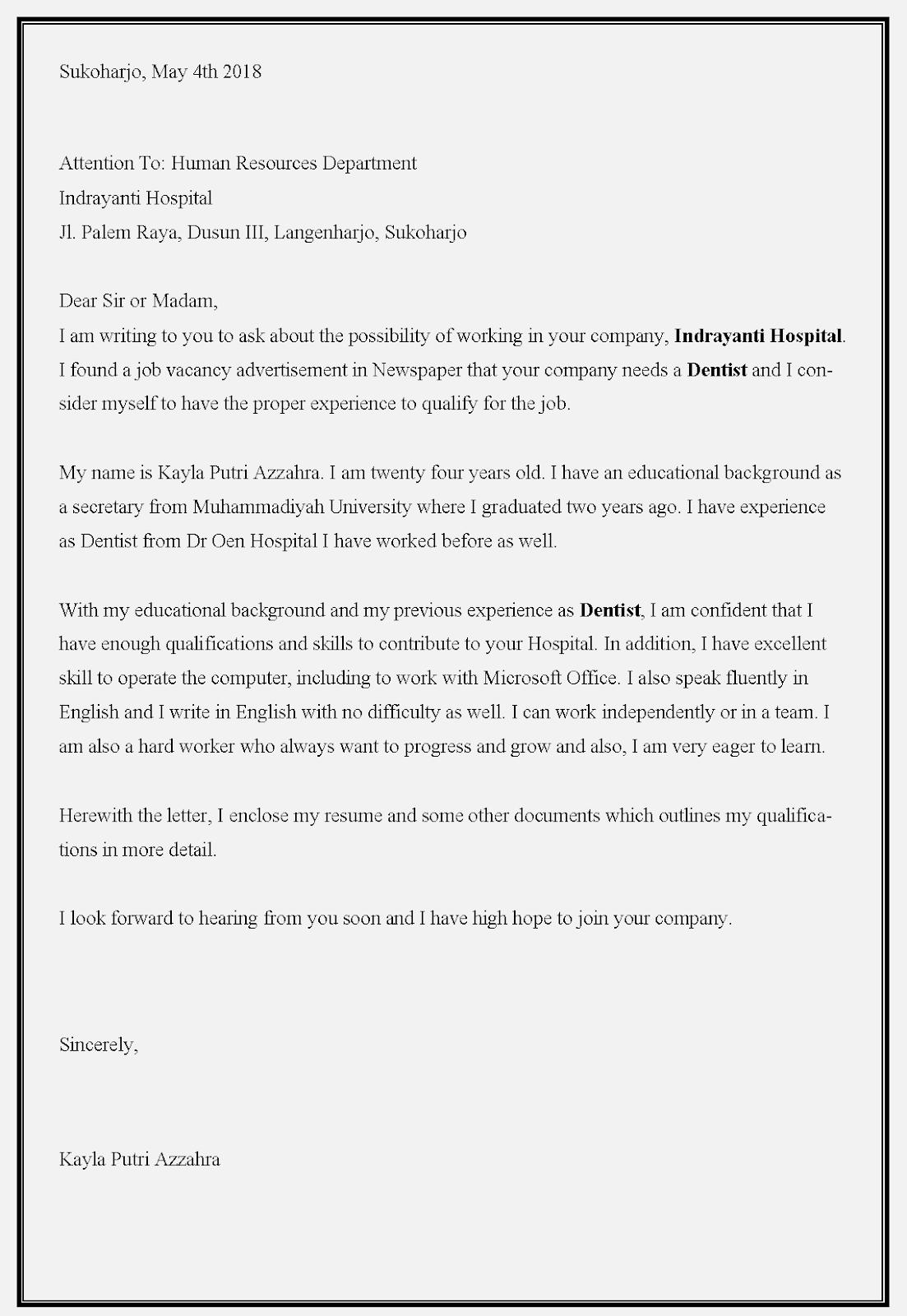 Contoh surat lamaran kerja dokter di rumah sakit Indrayanti