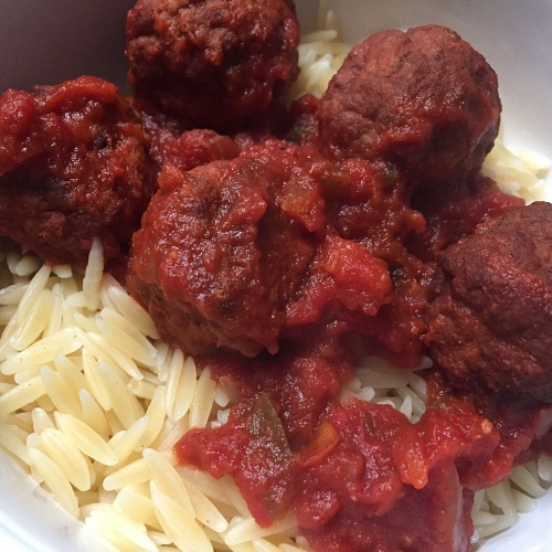 Moroccan Meatballs over Orzo