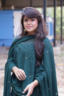 Actress Pooja Devariya Pictures in Green Salwar Kameez at Mo Movie Teaser Launch  0005