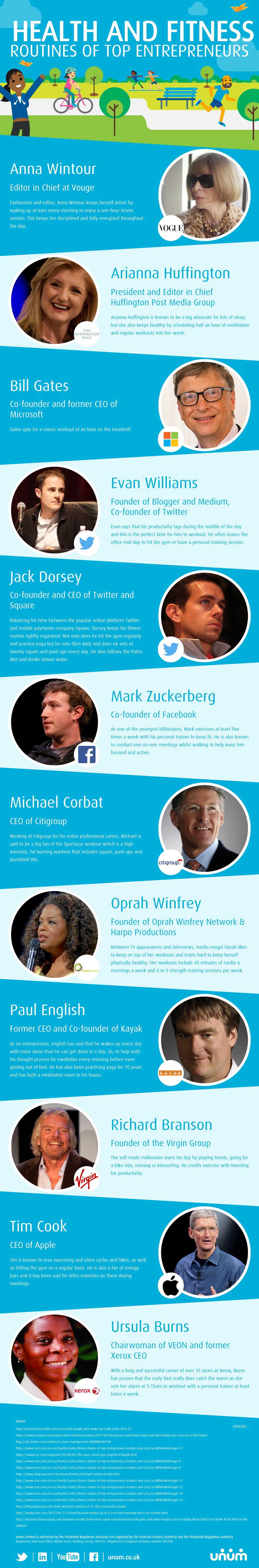 Health and Fitness Routines of Top Entrepreneurs #infographic