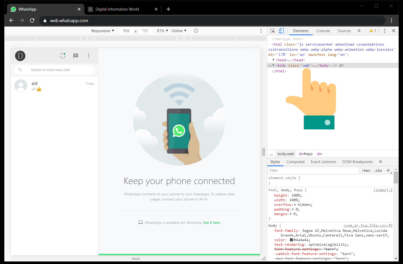 This simple trick will let you enable Dark Mode on Whatsapp Web