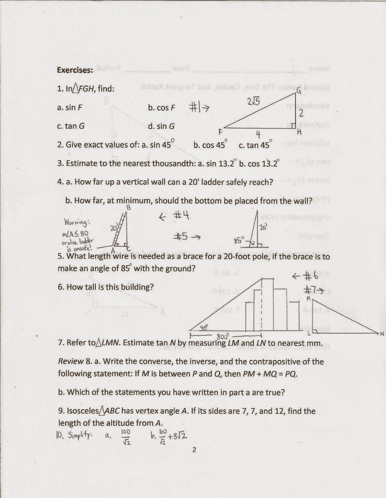 Geometry Common Core Style Lessons 14 3 And 14 4 The