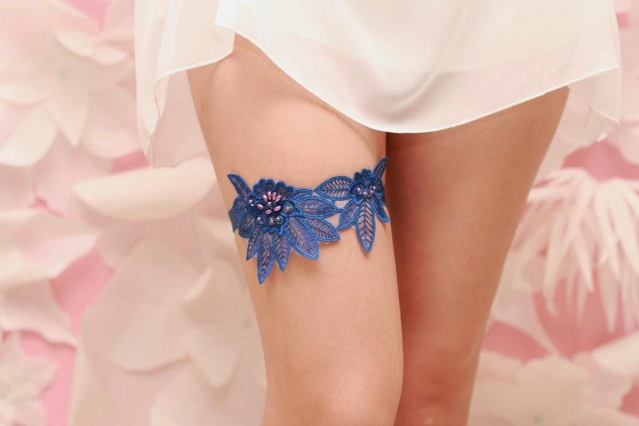 Liga sexy y azul de vestido de novia para boda