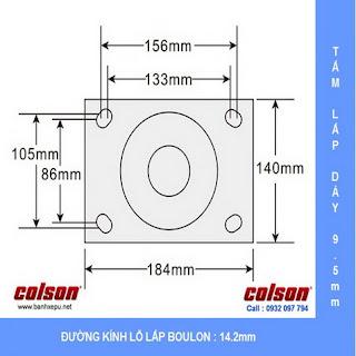 Bảng vẽ kích thước tấm lắp bánh xe công nghiệp PU chịu tải trọng nặng 1,035kg | 7-10678-959 :