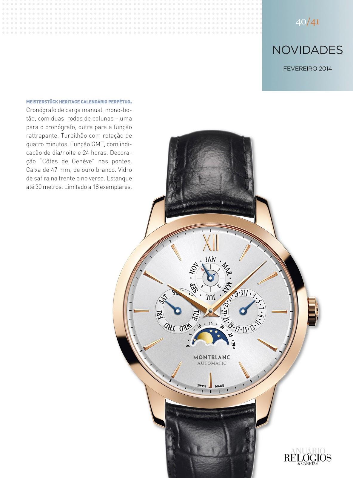 de4d7026c44 Relógios   Canetas online - relógio Montblanc Meisterstück Heritage  Calendário Perpétuo