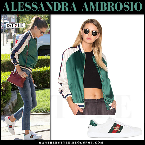 Alessandra Ambrosio in green satin bomber jacket lovers friends, skinny jeans and white sneakers gucci ace bee what she wore