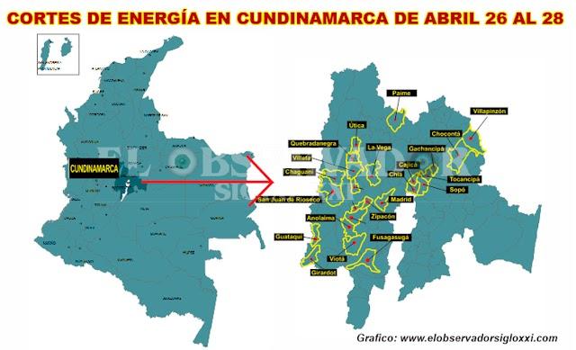 Codensa continúa con suspensión del servicio de energía eléctrica en Cundinamarca de abril 26 al 28