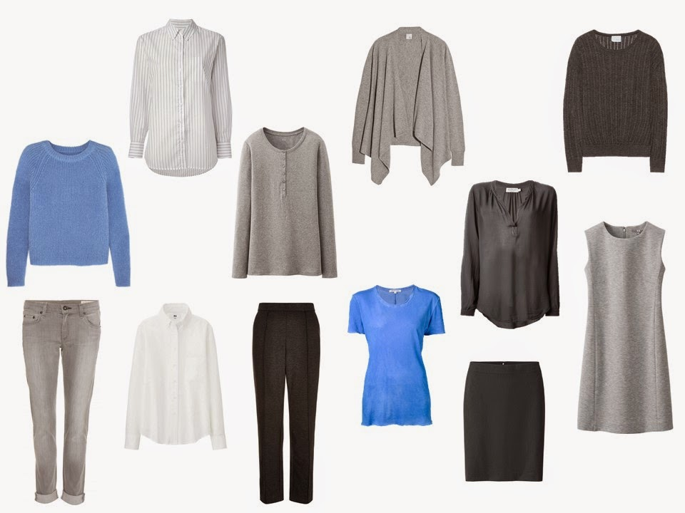 "12-Piece Whatever's Clean"" travel capsule wardrobe in grey, blue and white"