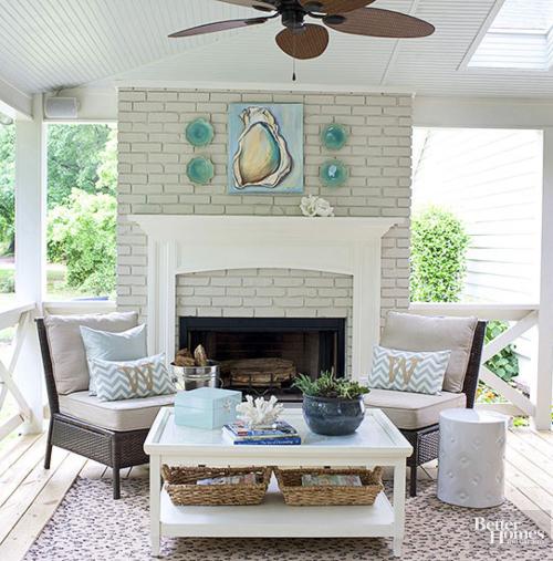 Coastal Porch Outdoor Living Room Idea