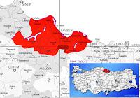 Asarcık ilçesinin nerede olduğunu gösteren harita.