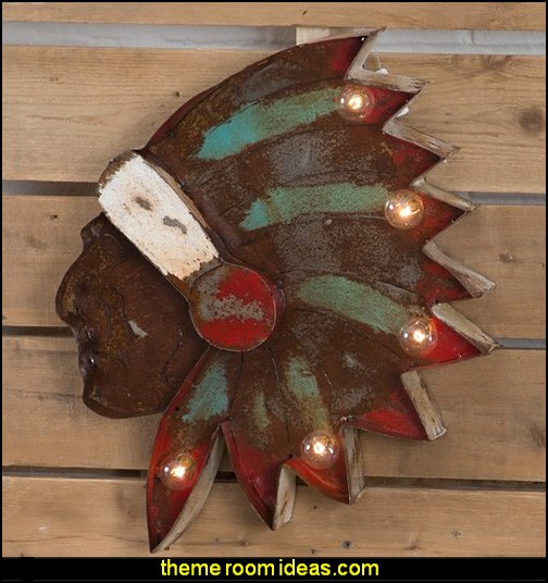 Chieftain Lit Wall Decor  Decorative Artwork  Native American southwestern decor