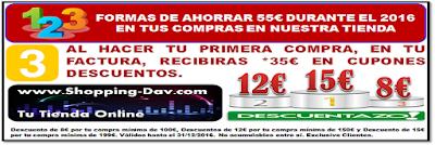En tu primera factura de compra, recibirás *35€ en cupones descuentos. Válidos hasta el 31/12/2016