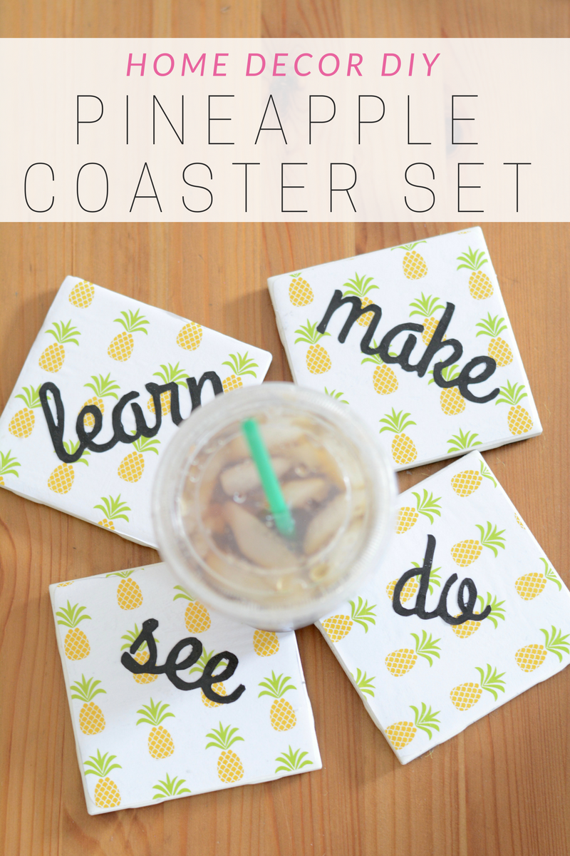 diy pineapple print coaster set
