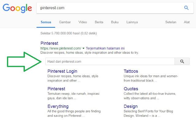Pinterest Sitelink Searchbox