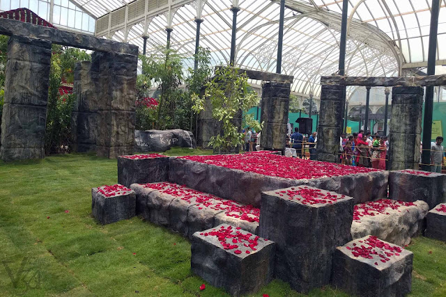 Behind Kuvempu's floral house