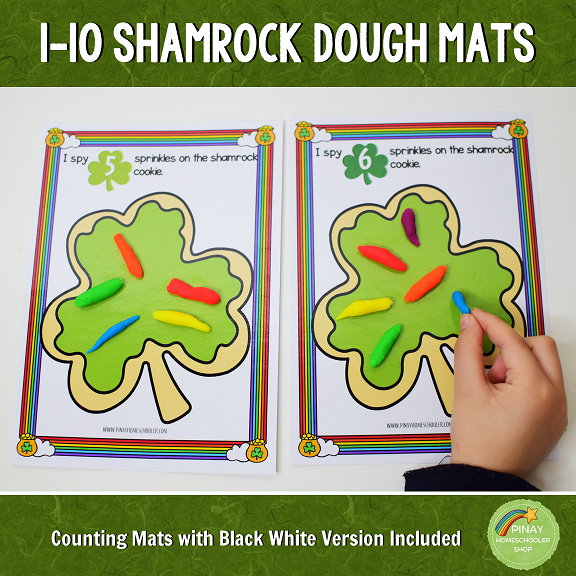 1 to 10 Shamrock Cookie Counting Mats