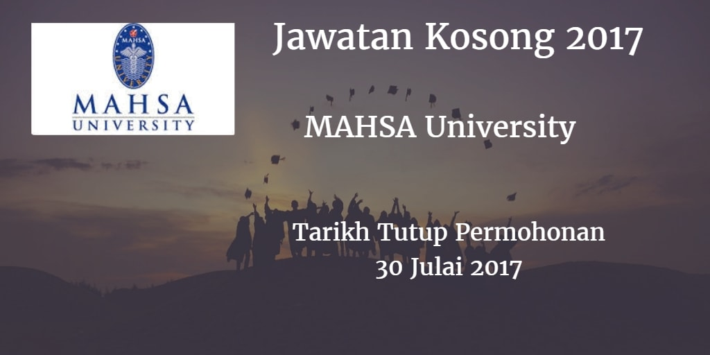 Jawatan Kosong MAHSA University 30 Julai 2017
