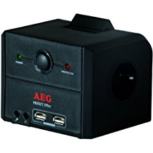 AEG Protect Office - Regleta (230V, 50/60 Hz, 36000A, Negro, 700g, 12 cm)