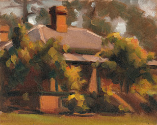 Oil painting of a brick Victorian-era house surrounded by tress and shrubs.