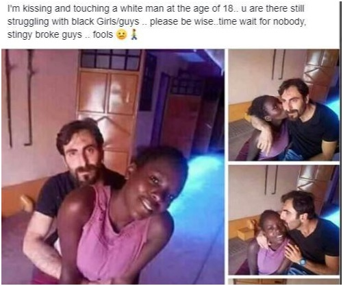 1 - I'm kissing a white man at 18 and you are still struggling with black guys – LADY brags on social media (PHOTOs)