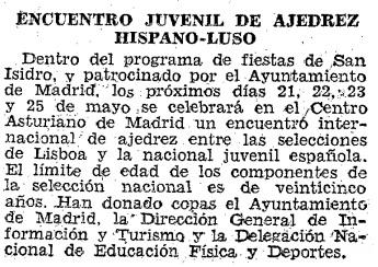Match Internacional de Ajedrez España-Lisboa - Madrid 1962, recorte de ABC del 18 de mayo de 1962