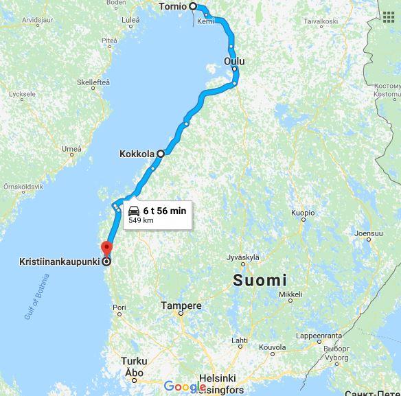 Kartta Suomesta, johon on merkitty reitti Torniosta Kristiinankaupunkiin. Matka on 549km, autolla 6 tuntia ja 56 minuuttia.