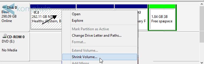 tambah sendiri partisi windows 7