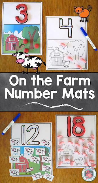 These easy to prepare farm number mats, 0-20, for preschool and kindergarten, are designed to develop skills in number recognition, number formation, counting quantities, and cardinality.