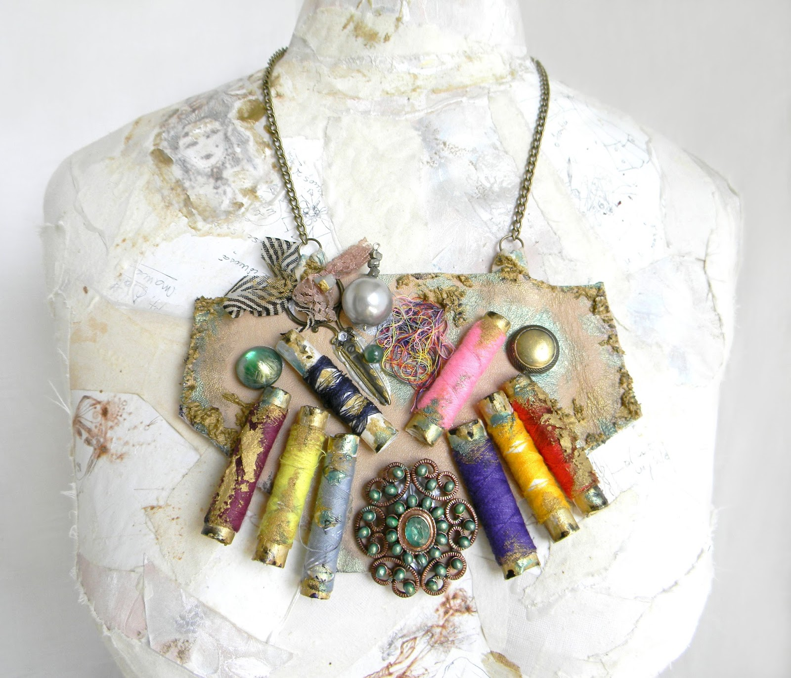 Unique Steampunk Eclectic Gypsy Necklace Bib Colorful Collage Leather Jewelry