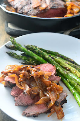 Grilled Steak with Sriracha Caramelized Onions from Life's Ambrosia, featured on Low-Carb Recipe Love on Fridays (6-3-16) from KalynsKitchen.com
